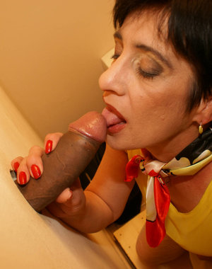 Horny mature nympho sucks and fucks through the hole