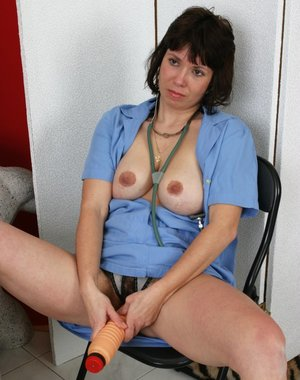 Hairy mature lady in horny action