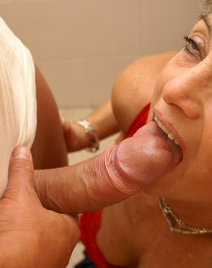 Mature housewife gets fucked in the toilet