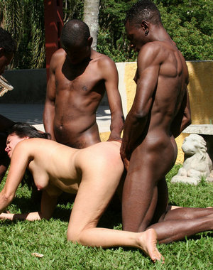 Three black dudes having fun with one horny mature slut