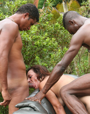 Fill that mature cunt up with two black cocks