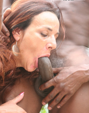 horny mature slut getting fucked by two black dudes
