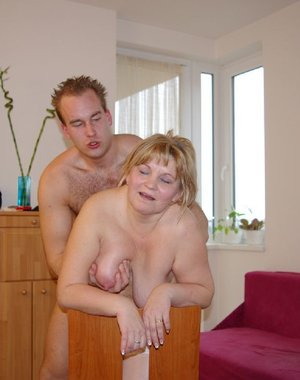 This chubby mature slut gets fucked by a younger dude