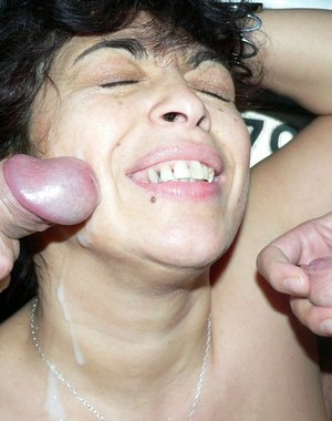 Chubby mature gets a face full of cum