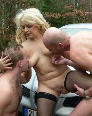 Horny blonde mature nature loving cocksucker