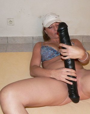 She really enjoys that rubber monster cock