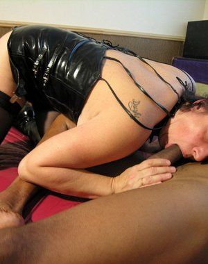 Horny mature slut having sex with a black dude