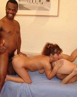 Two mature cunts having kinky fun with a black dude