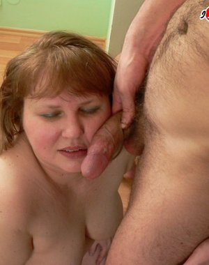 Chunky mature slut having fun with cock