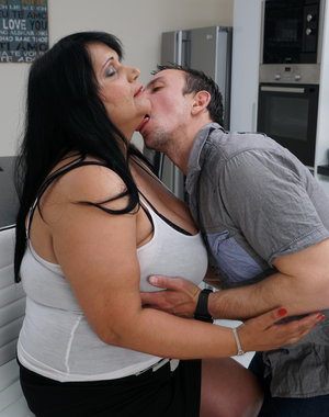 This horny mature bbw loves fooling around with her toy boy