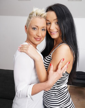 Naughty mom playing with her younger lesbian lover