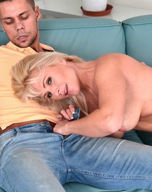 Hot blonde MILF playing with her lover