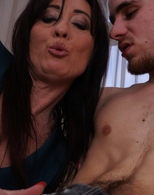 Horny housewife fooling around with her toy boy