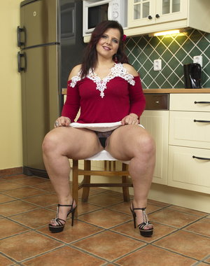 Cute chubby housewife getting wet and wild
