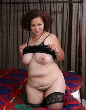 Naughty Chubby American mama playing alone