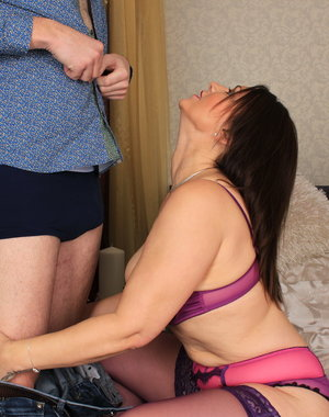 Big breasted British MILF fooling around with her lover