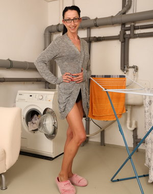 naughty German housewife doing her laundry