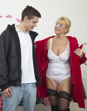 This older lady loves playing with her toy boy