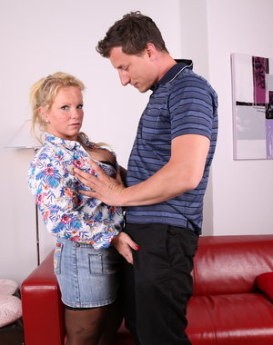 Naughty German housewife getting frisky
