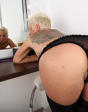 Horny German housewife playing with herself