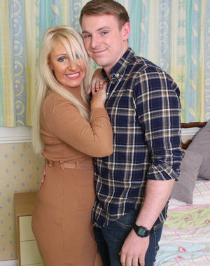 Naughty hot British housewife playing with her younger lover