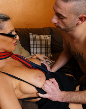 Naughty mom playing with her younger lover