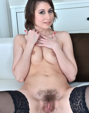 Hot and hairy mom playing with herself