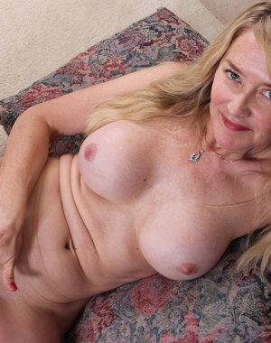 Hot blonde American housewife getting frisky