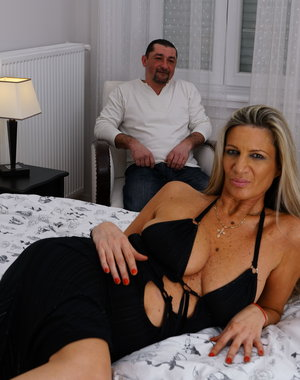 Naughty housewife playing with her lover