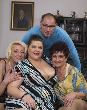 Three naughty housewives sharing one lucky dude
