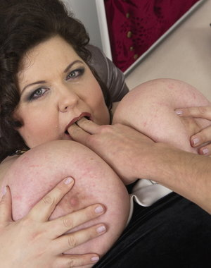 Huge breasted mature BBW getting it in POV style