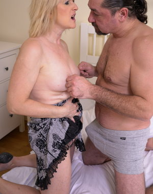 Horny housewife fooling around with her man