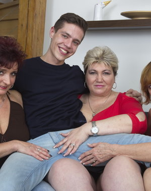 Three horny housewives sharing one lucky toy boy