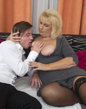 Horny mature lady playing with her toyboy