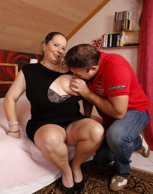 Naughty German mature BBW with her boyfriend