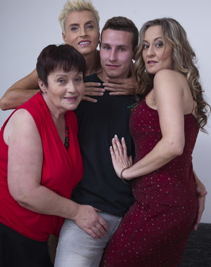 Three mature ladies sharing one lucky younger dude