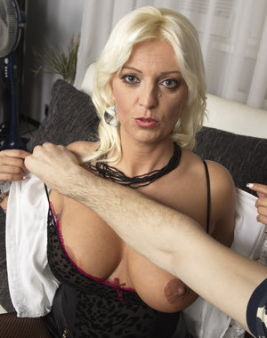 Naughty blonde housewife getting it POV style