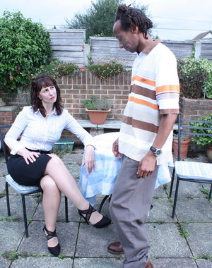 Horny British housewife doing a black guy in her garden