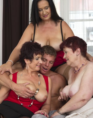 Three horny housewives sahring one hard cock