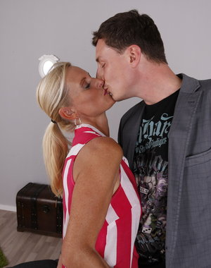 Naughty German housewife playing with her lover