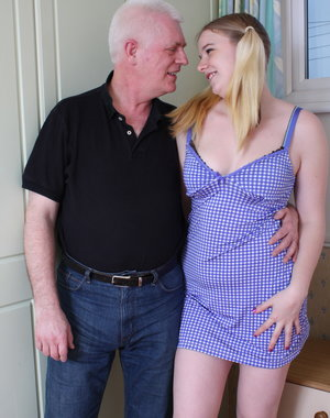 British blonde schoolgirl playing with a dirty old man