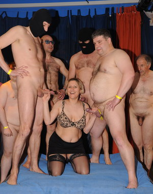 Two naughty German mature ladies in a Gang Bang