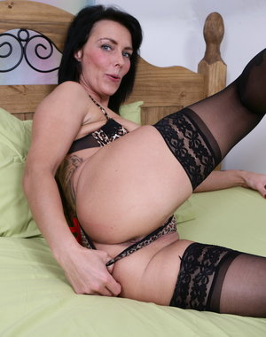 Naughty British mom playing with herself