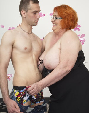 Huge Breasted BBW playing with her toyboy