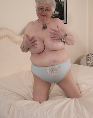 Naughty Big breasted British granny getting frisky