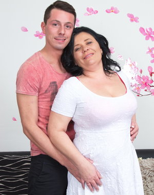 Naughty chubby housewife playing with her younger lover