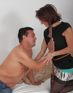 Naughty British housewife playing with her lover
