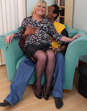 British mature BBW going interracial with her lover