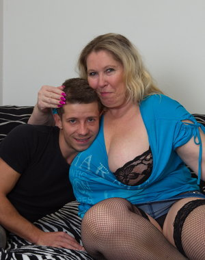 Horny BBW playing with her toy boy